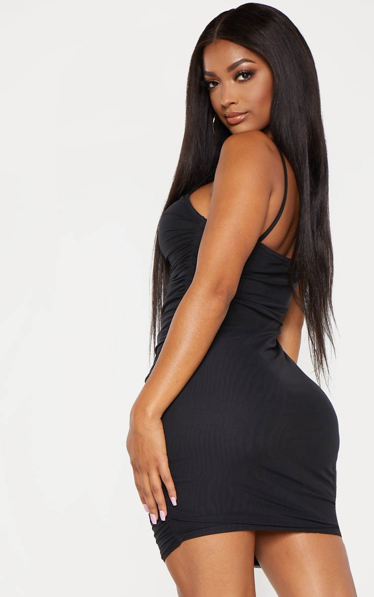 Shape Black Strappy Ruched Mesh Cut Out Dress 2