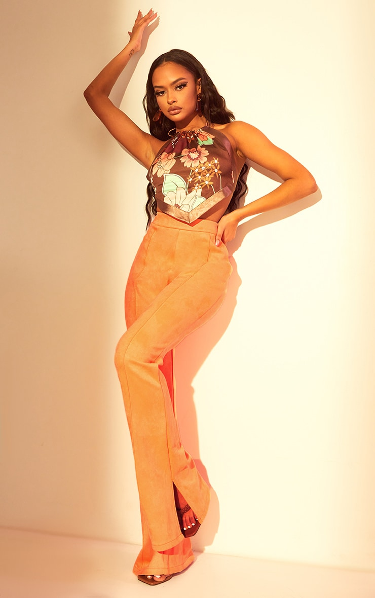 Coral Bonded Suede Flare Pants 1