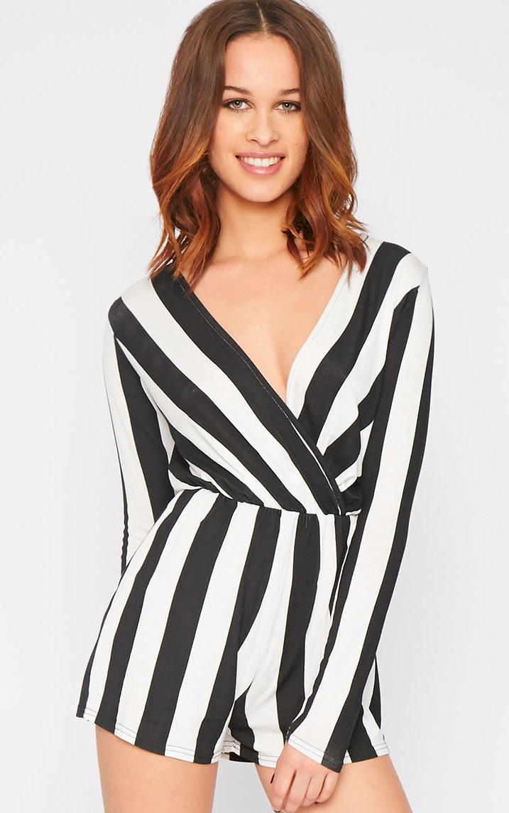 Indra Monochrome Striped Wrap Over Playsuit  2