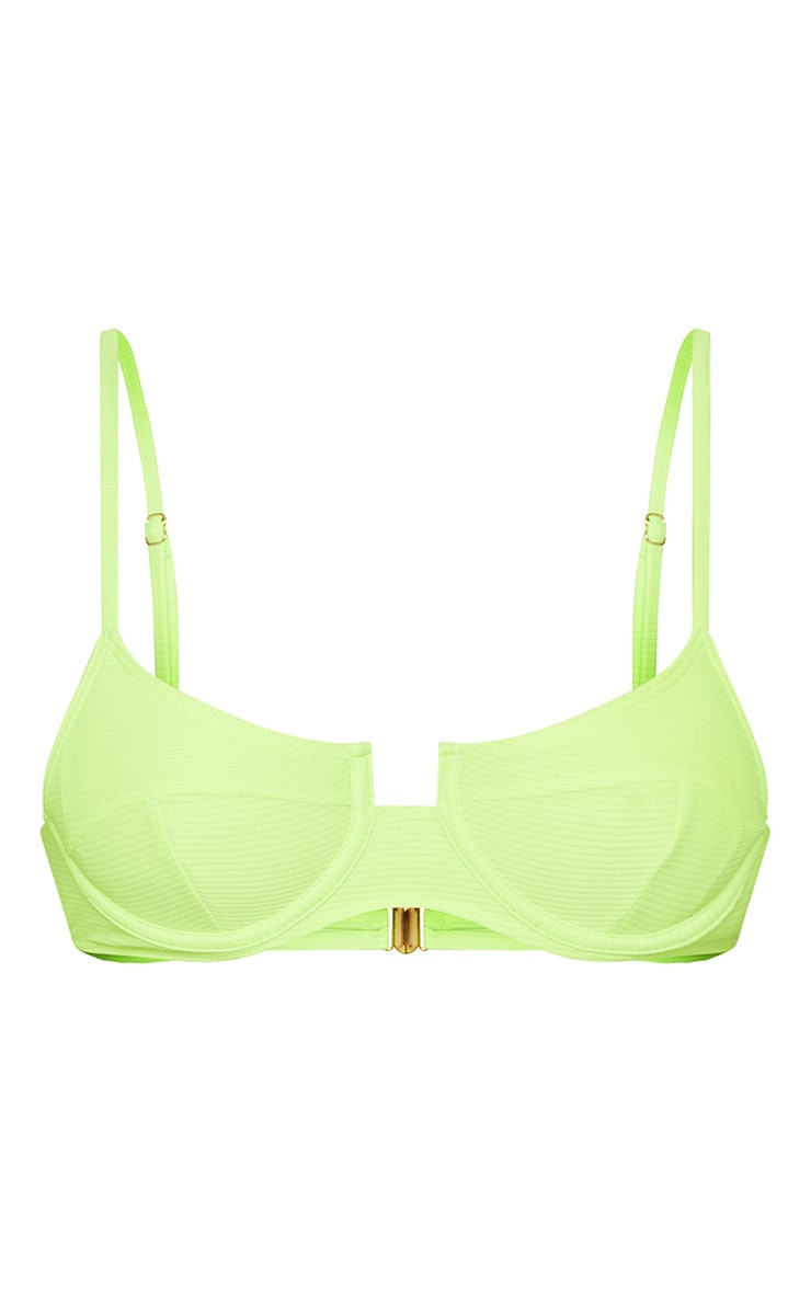 Neon Yellow Underwired Ribbed Balconette Bikini Top 3