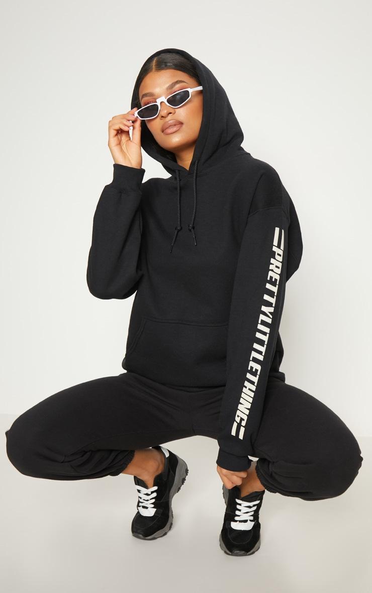 PRETTYLITTLETHING Black Logo Stripe Oversized Hoodie 1