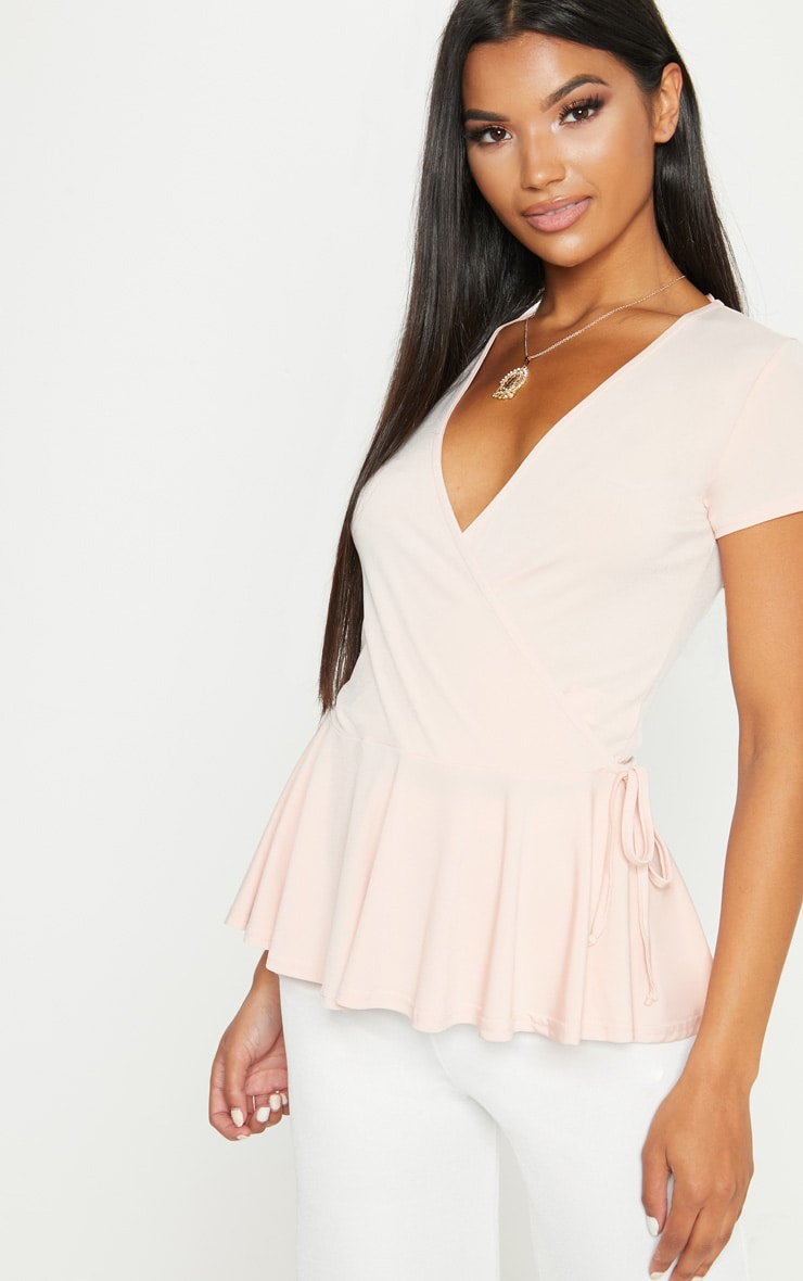 Blush Slinky Wrap Front Short Sleeve Top 1
