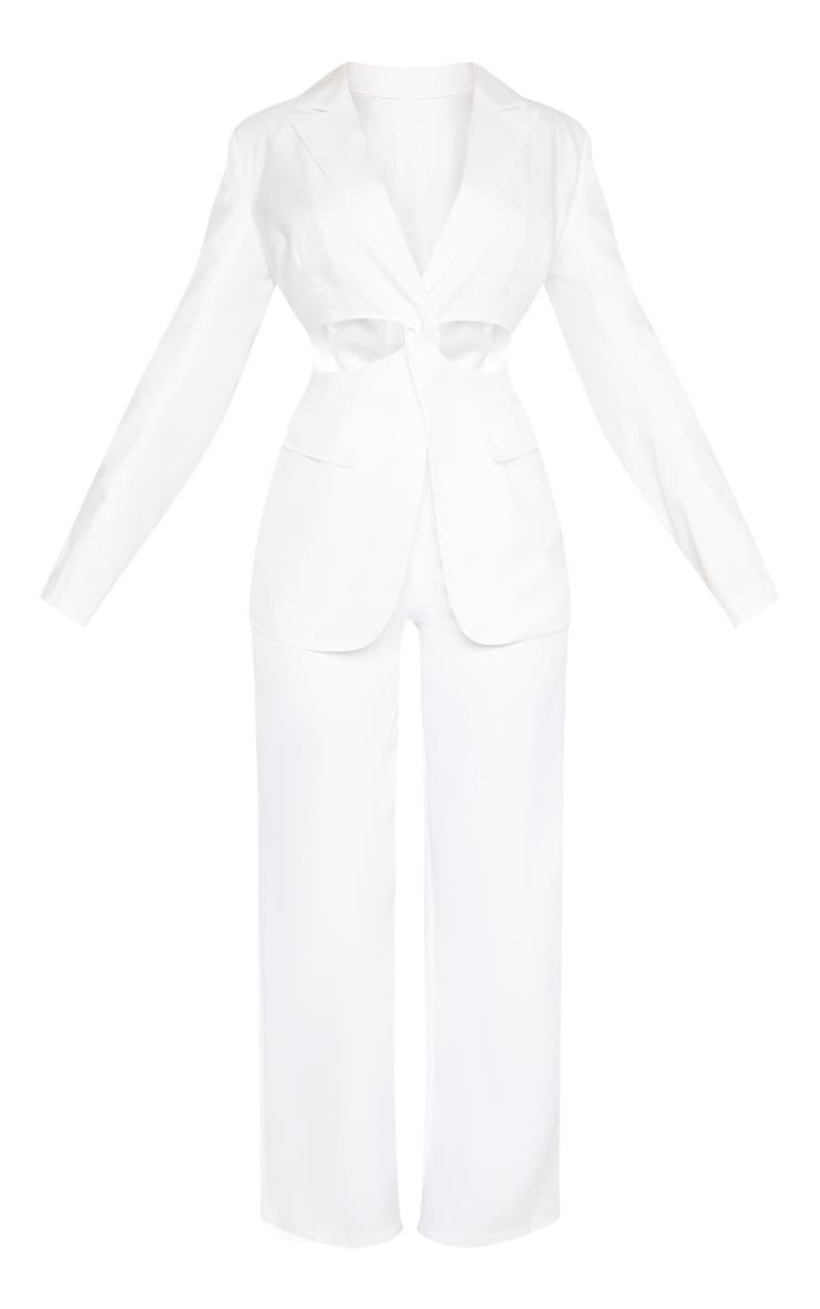 White Plunge Cut Out Detail Suit Blazer 3