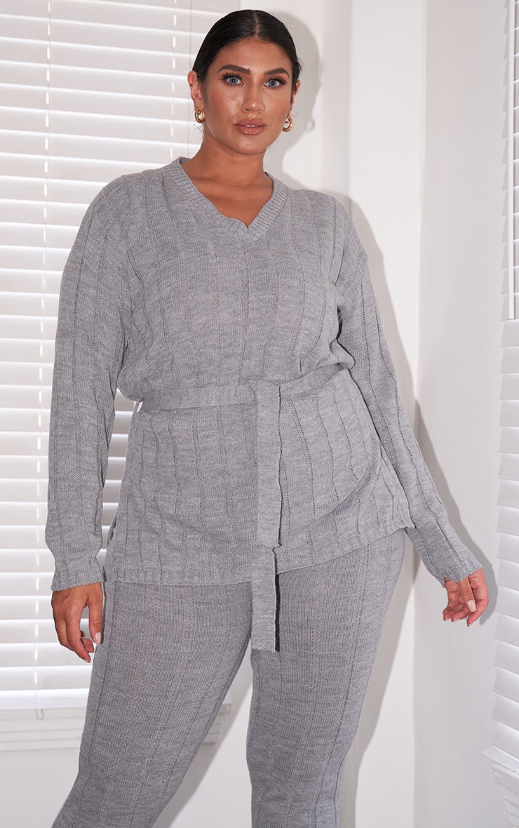 Plus Grey Belted Longline Sweater And Leggings Lounge Set 1