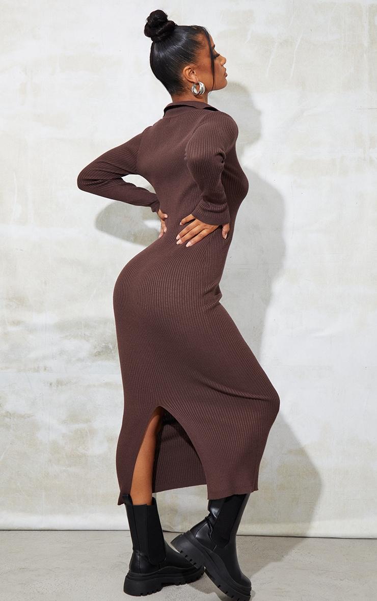 Chocolate Half Zip Collar Detail Knit Maxi Dress 2