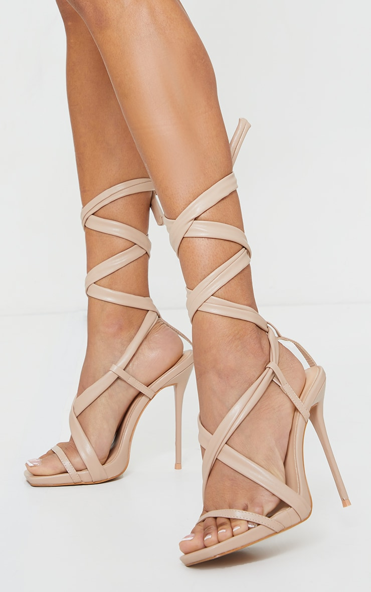Nude PU Lace Up Square Toe High Heels 1