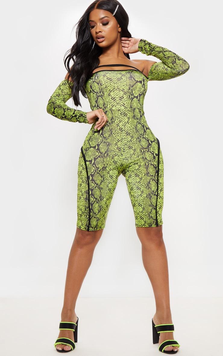 Shape Neon Lime Snake Print Binding Detail Bardot Unitard 4