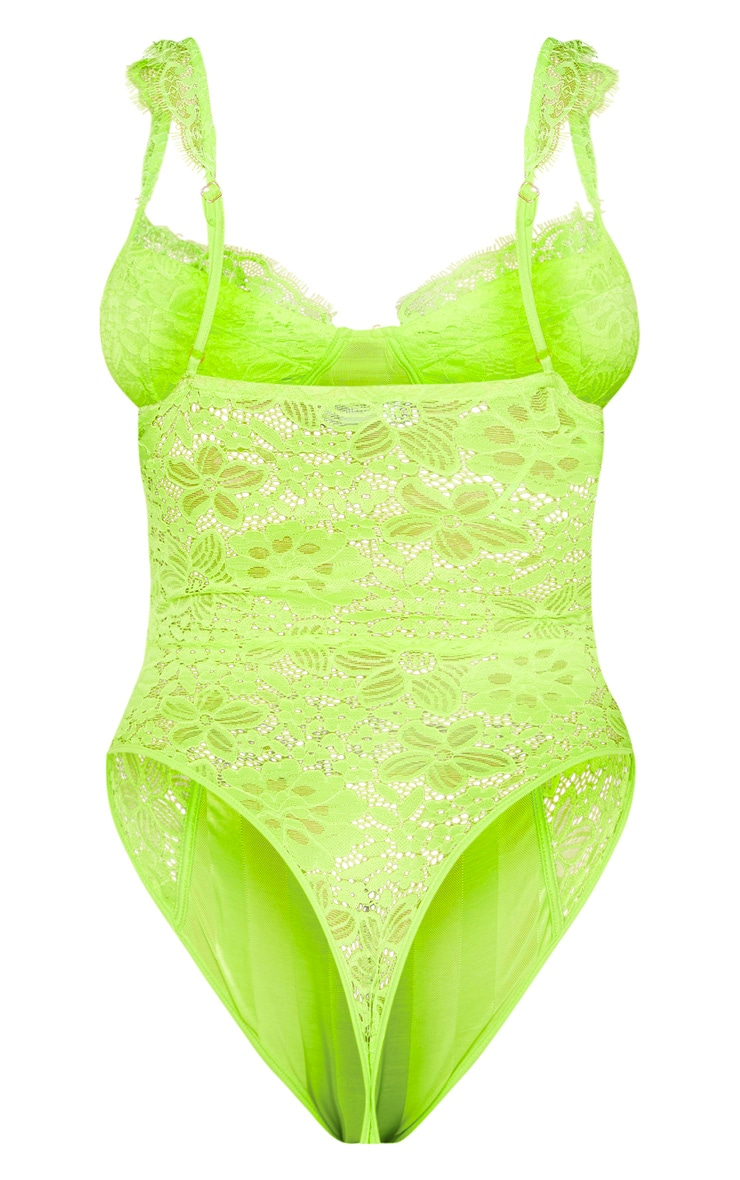 Shape Neon Lime Lace Mesh Stripe Bodysuit 4