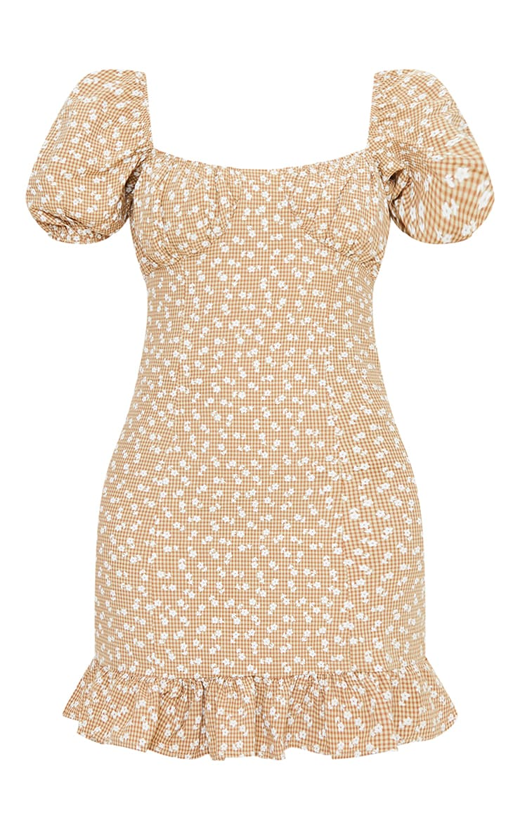 Brown Check Ditsy Print Ruched Bust Frill Hem Shift Dress 5