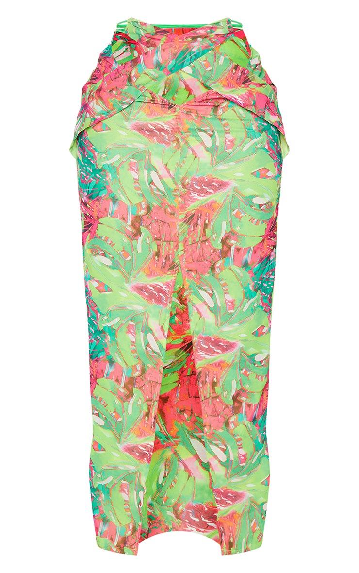 Shape Lime Tropical Print Chiffon Wrap Detail Midi Skirt 5