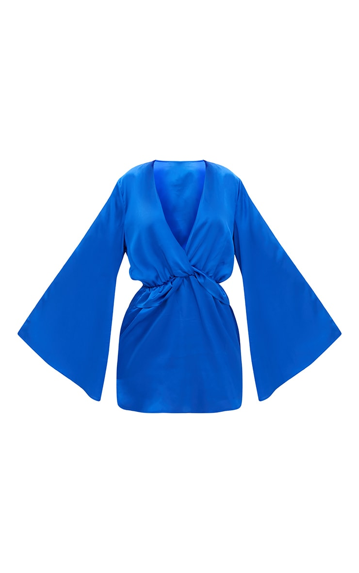 Cobalt Satin Kimono Sleeve Plunge Shift Dress 4