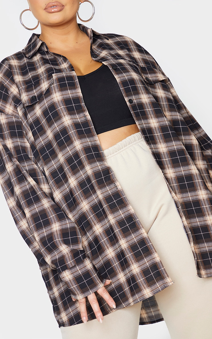 Plus Chocolate Brown Checked Oversized Shirt 4