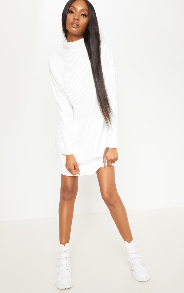 White High Neck Thick Ribbed Oversized Jumper Dress 4