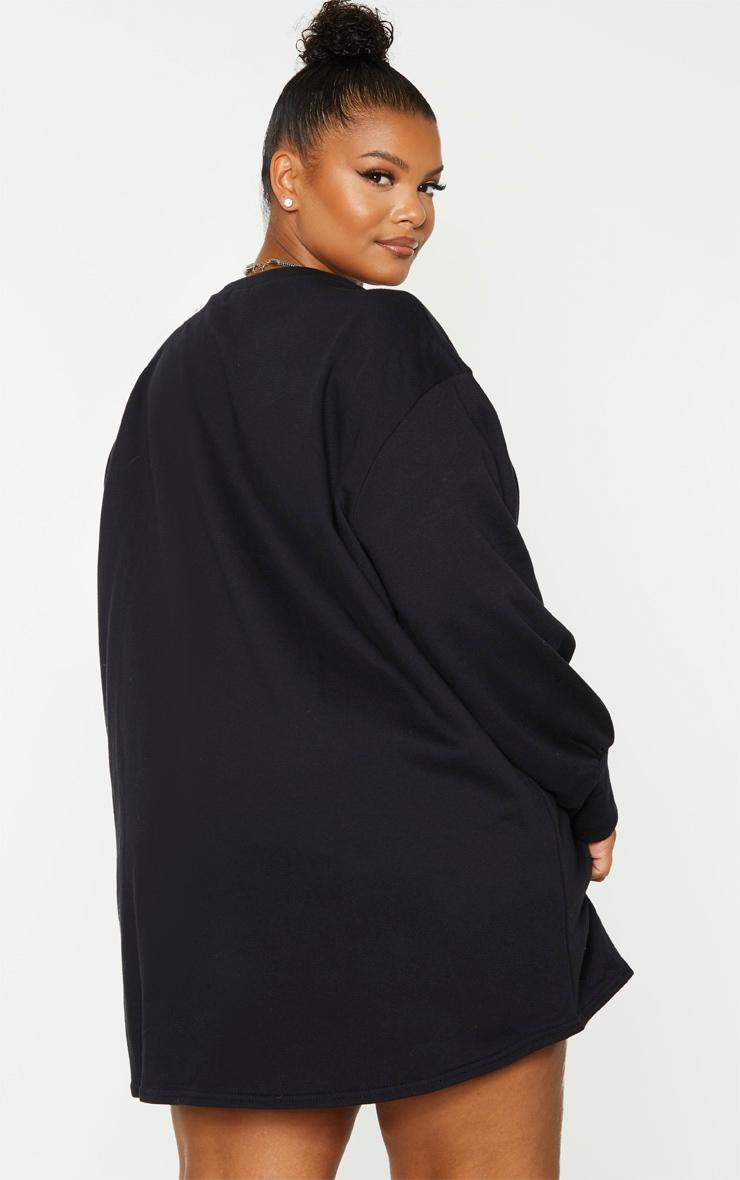 Plus Black Oversized Sweatshirt Dress 2