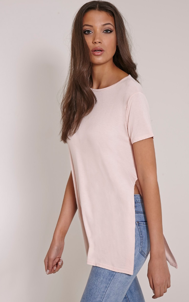 Basic Blush Side Split T-Shirt 1