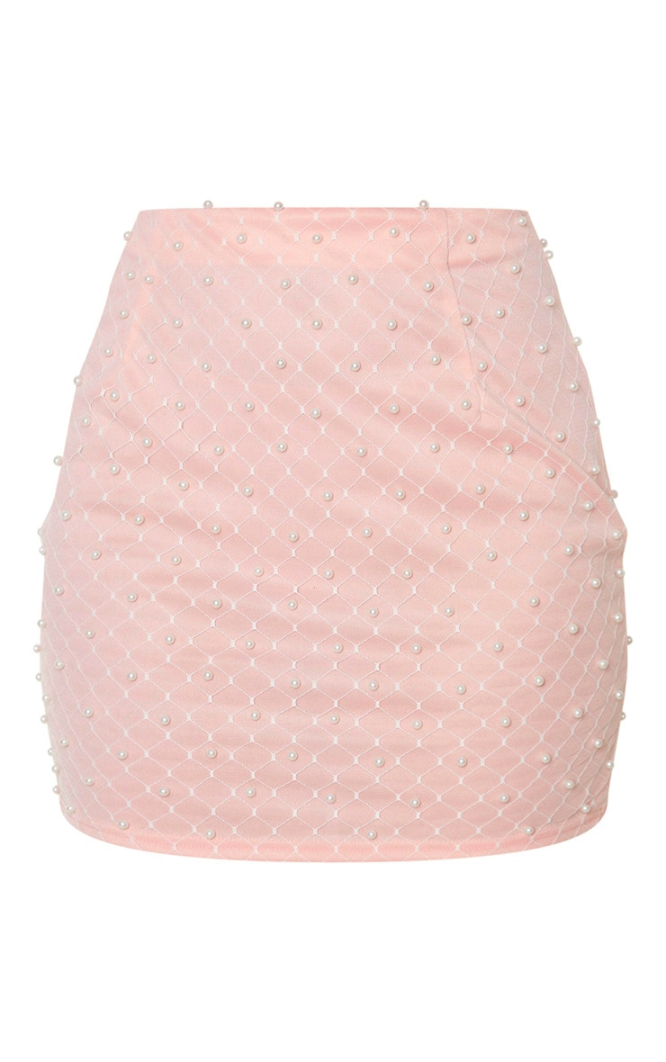 Baby Pink Woven Bead Detail Mini Skirt 3