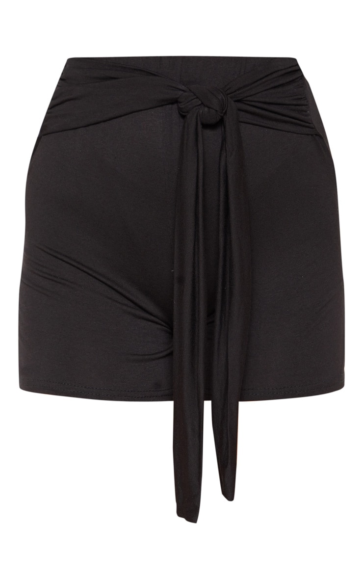 Black Basic Tie Waist Short 3