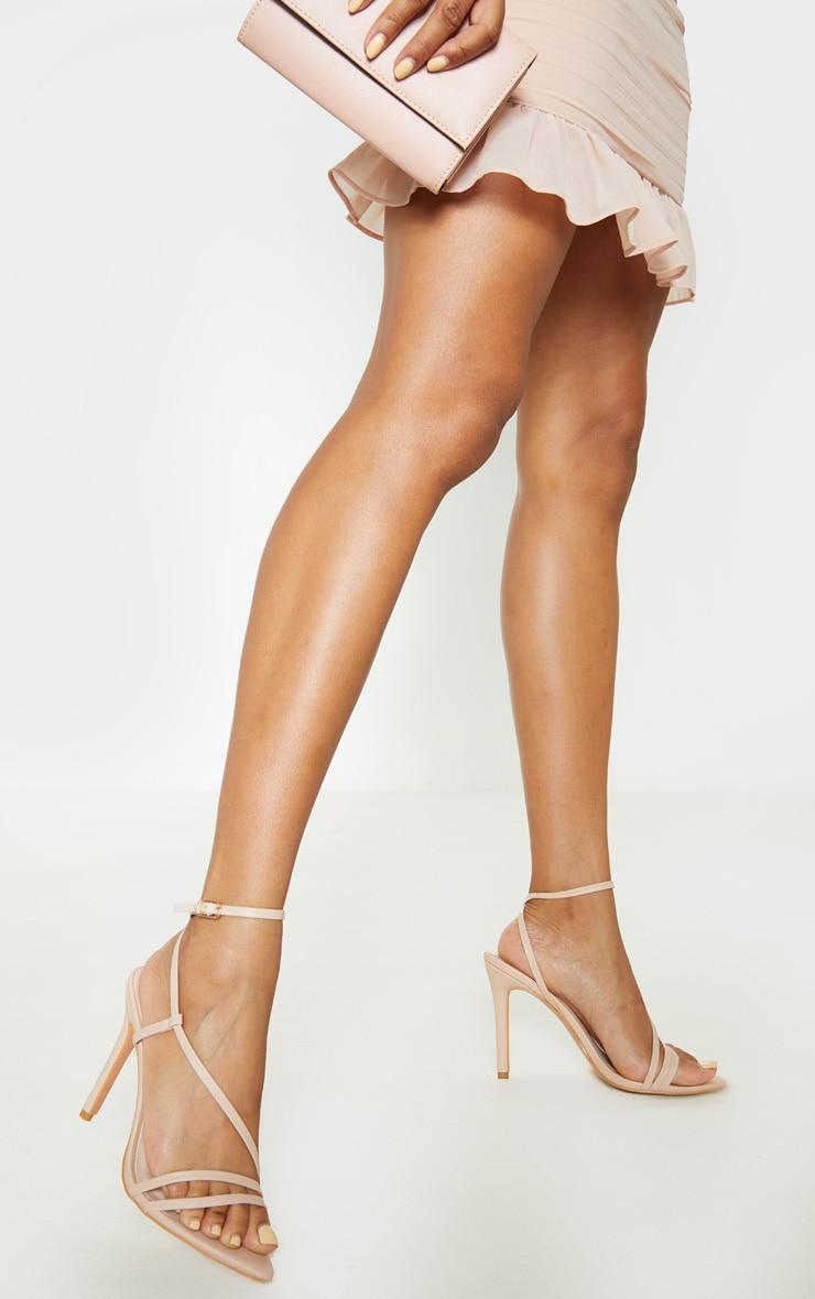 Nude Asymmetric Strappy Sandal