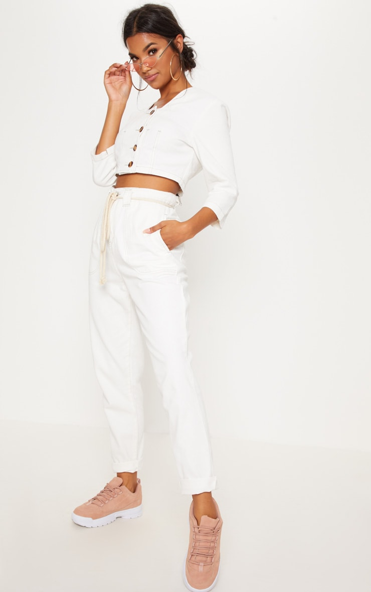 Ecru Tie Waist Jeans