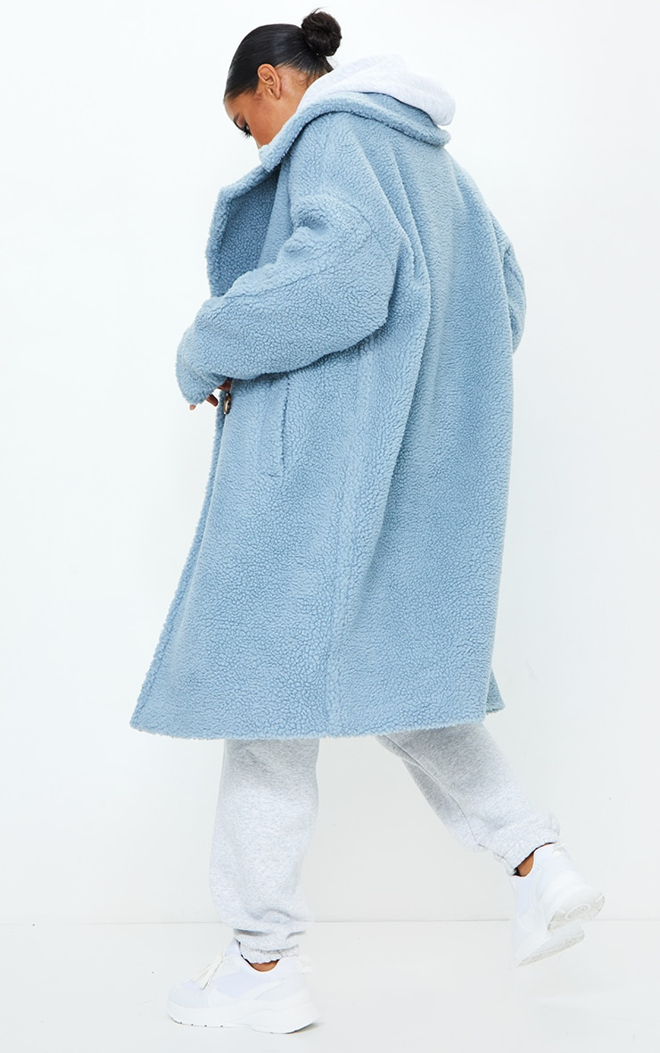 Dusty Blue Borg Drop Arm Midi Coat 2