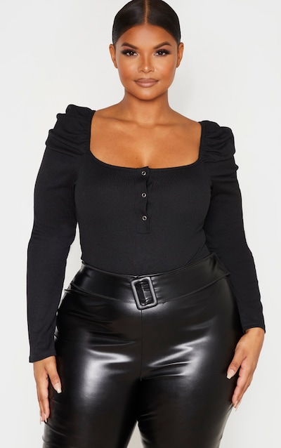Plus Black Rib Puff Sleeve Bodysuit