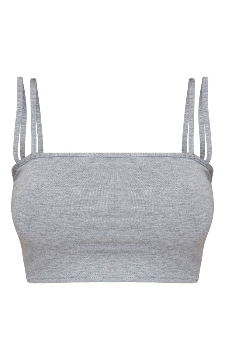Grey Jersey Double Strap Crop Top 3