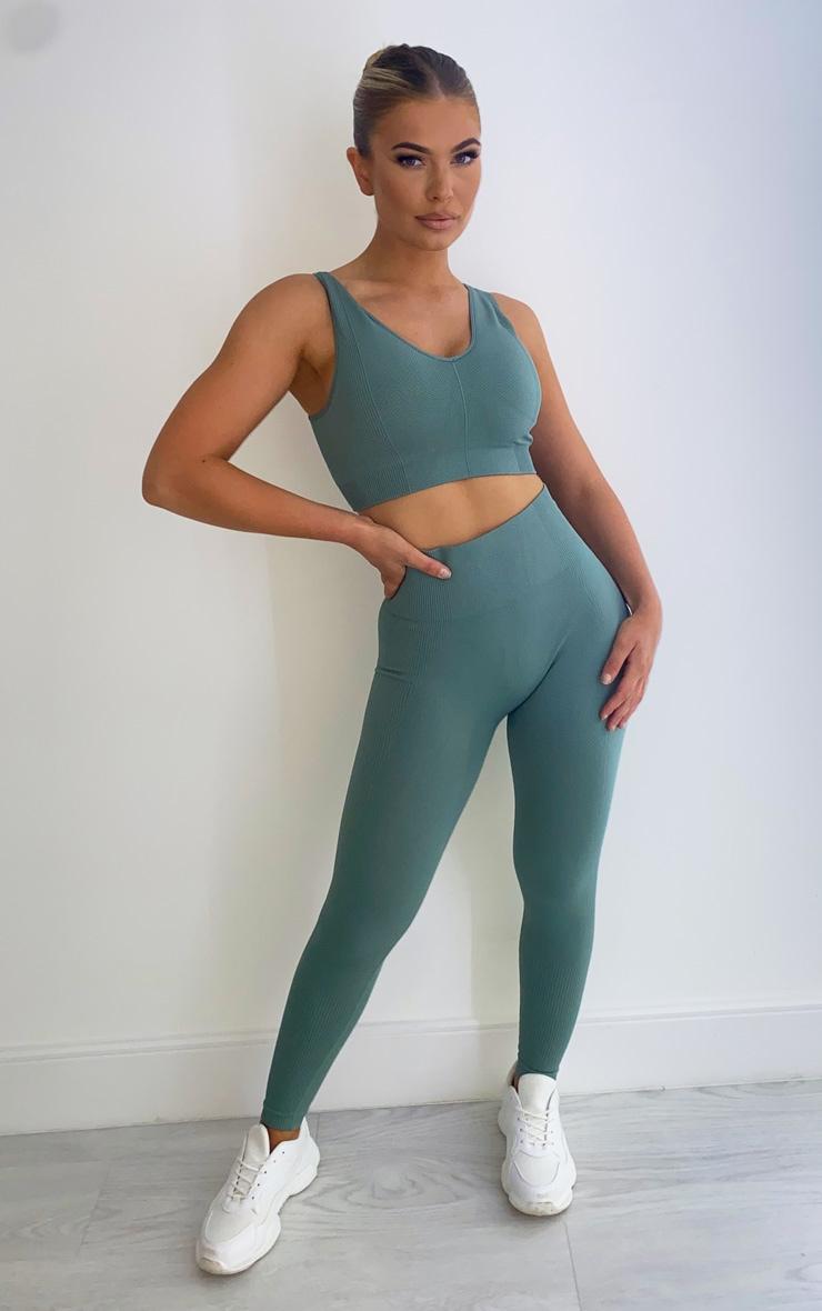 Sage Green Textured Seamless High Waist Gym Legging 1
