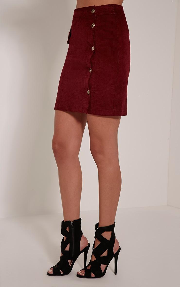 Orea Burgundy Side Button Cord Mini Skirt 4
