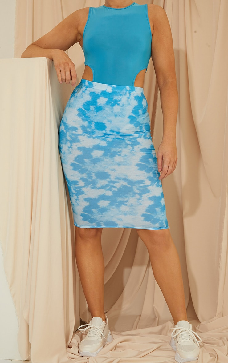Blue Tie Dye Basic Midi Skirt 1