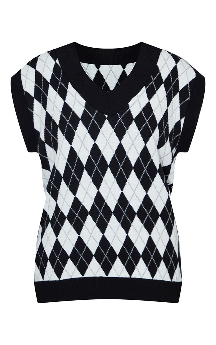 Monochrome Argyle Check V Neck Knitted Side Split Vest 5