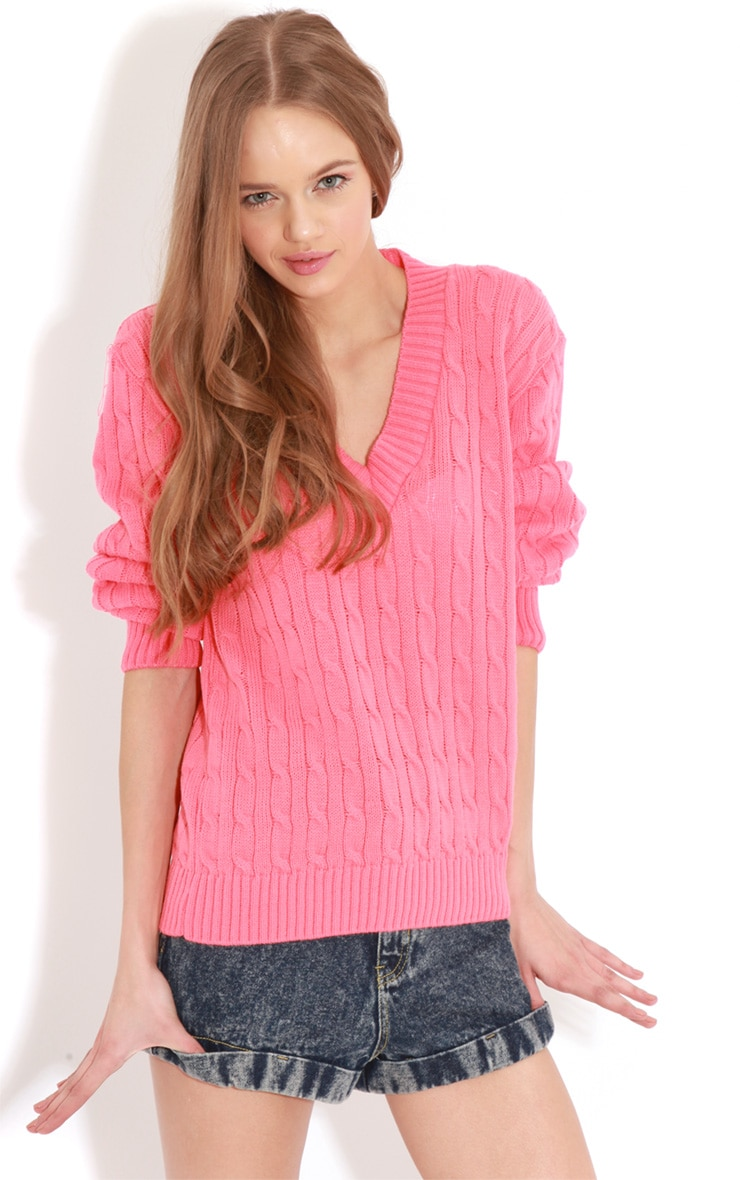 Raveena Coral V Neck Cable Knit Jumper 1