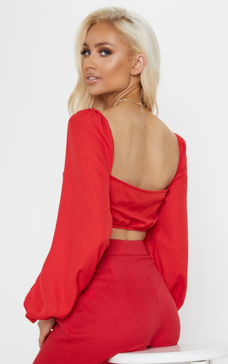 Red Balloon Sleeve Crop Top 2