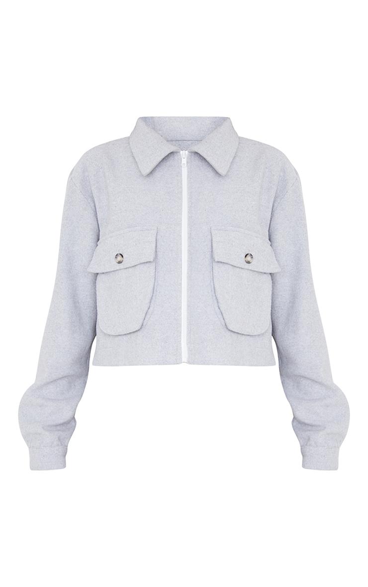 Grey Cropped Zip Detail Shacket 5