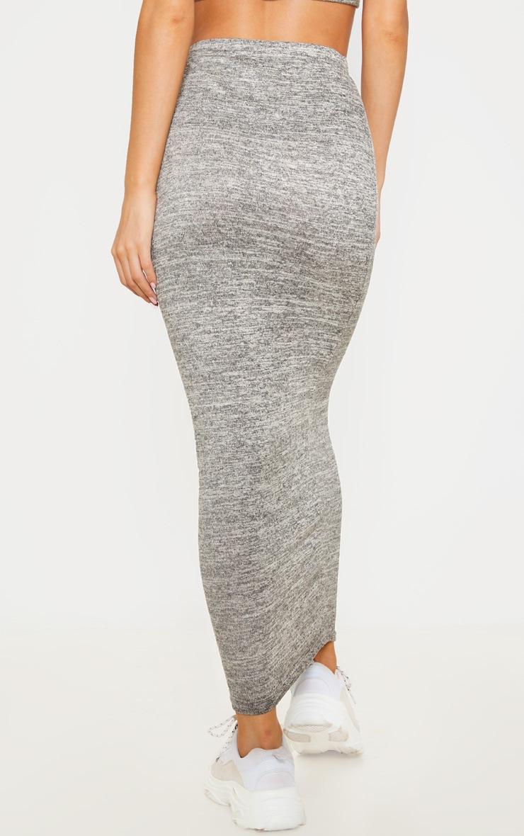 Jupe longue en tricot léger gris pierre 4