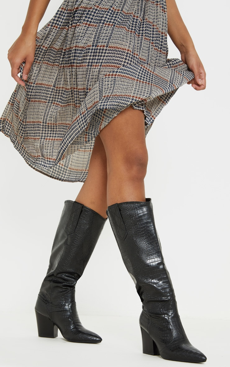 Black Knee High Heeled Western Boot 2