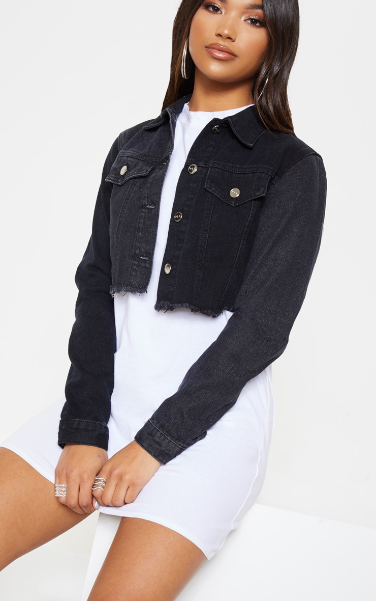 Washed Black Contrast Cropped Denim Jacket 5