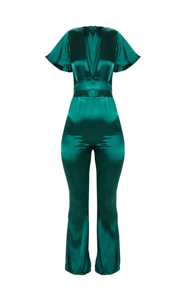 Emerald Green Satin Button Detail Flared Leg Jumpsuit 3