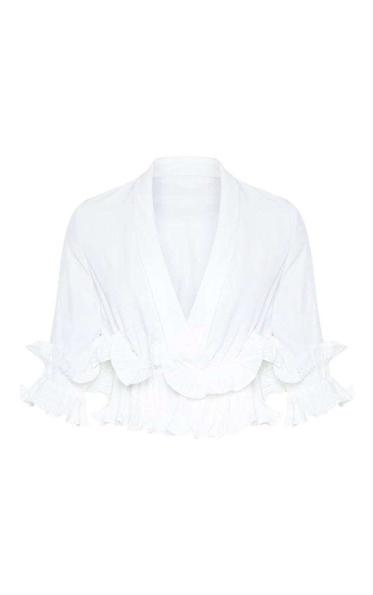 White Frill Detail Pleated Blouse 3