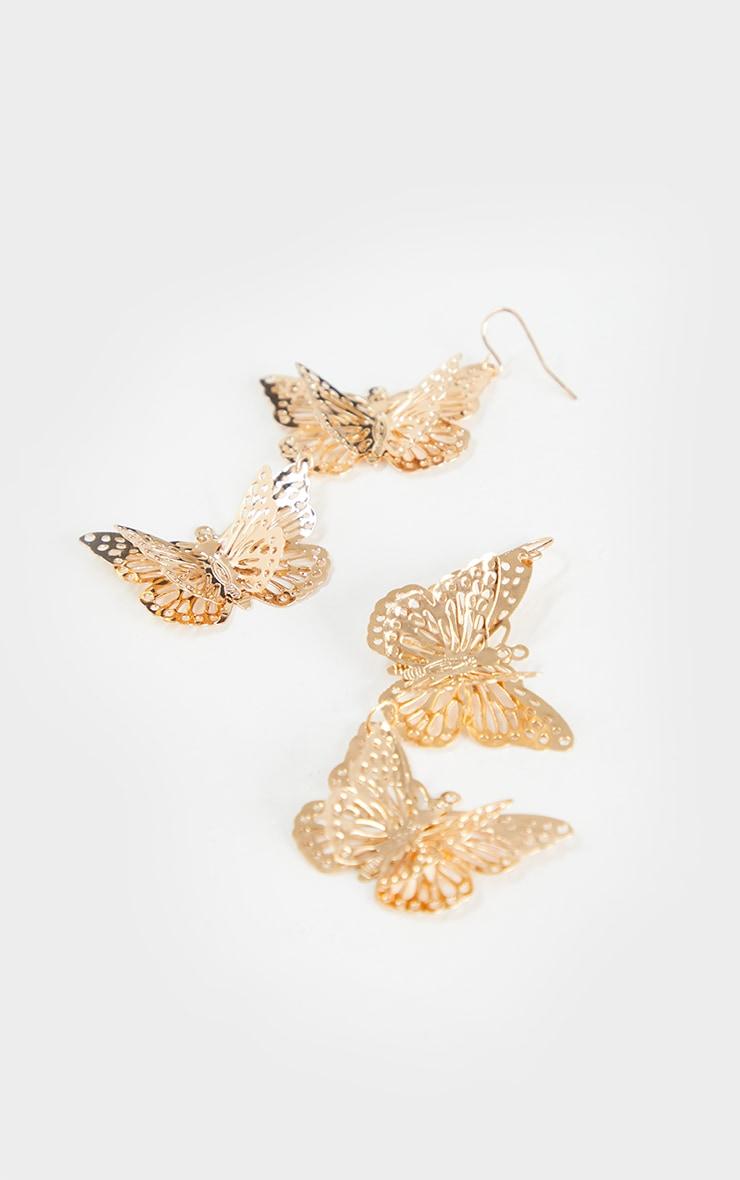 Gold Butterfly Drop Earrings 3