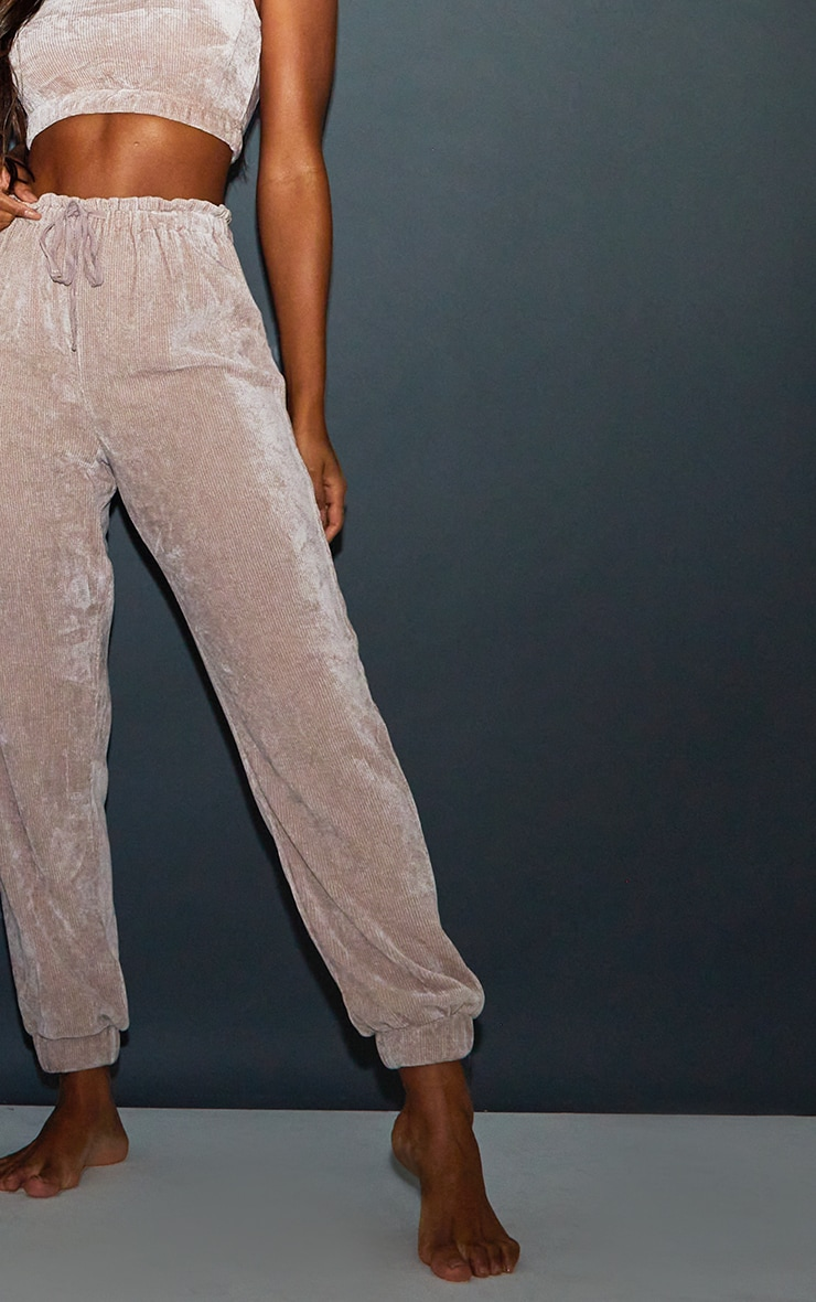 Taupe Mix And Match Luxe Rib Velour PJ Bralet 4