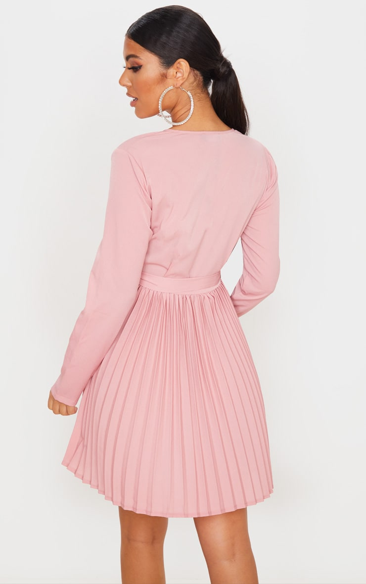 Dusty Pink Long Sleeve Pleated Skater Dress 2