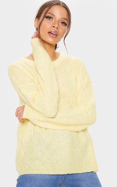 e0edc888fb466b Yellow Waffle Knitted Crew Neck Jumper