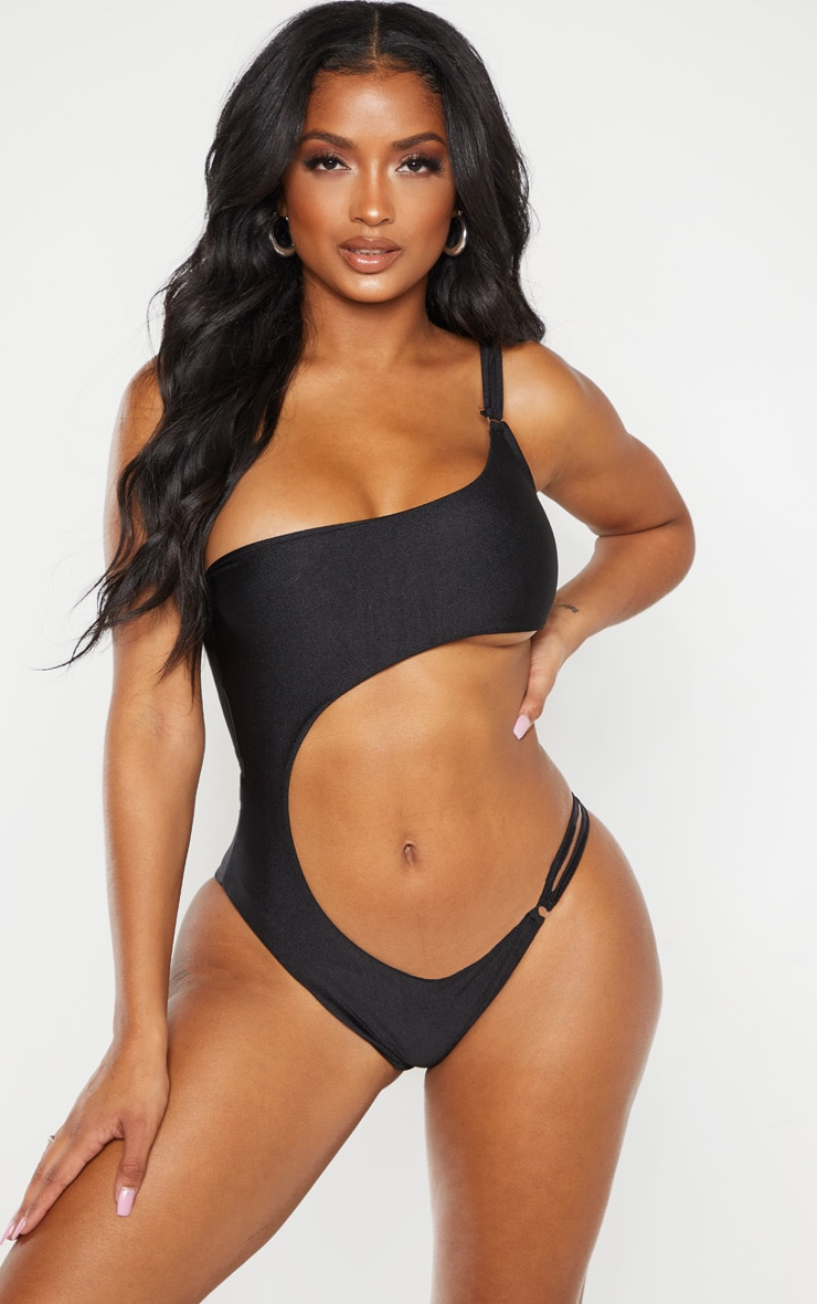 Shape Black Cut Out Ring Detail One Shoulder Swimsuit  1