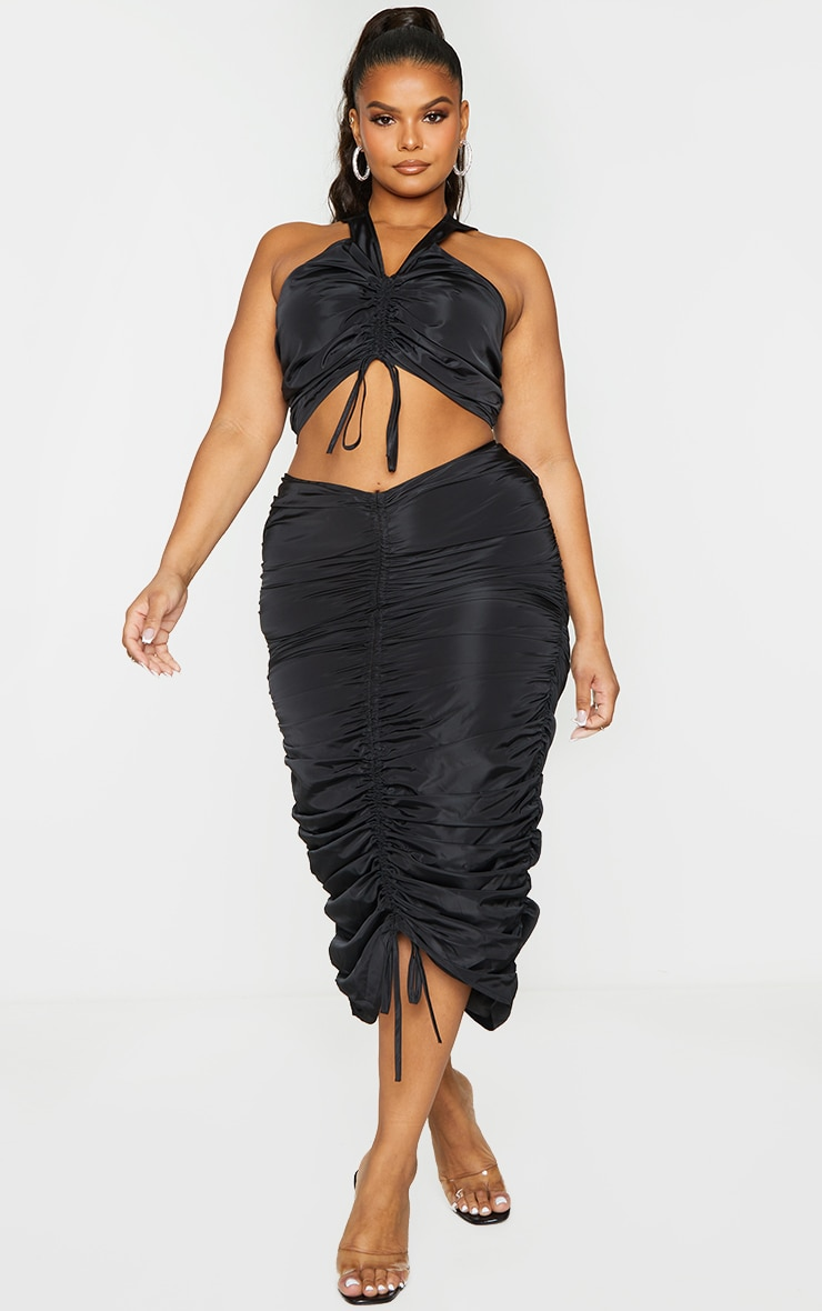 Plus Black Shell Ruched Front Midi Skirt 1