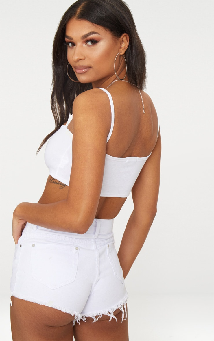 White Embroidered Rainbow Strappy Crop Top  2