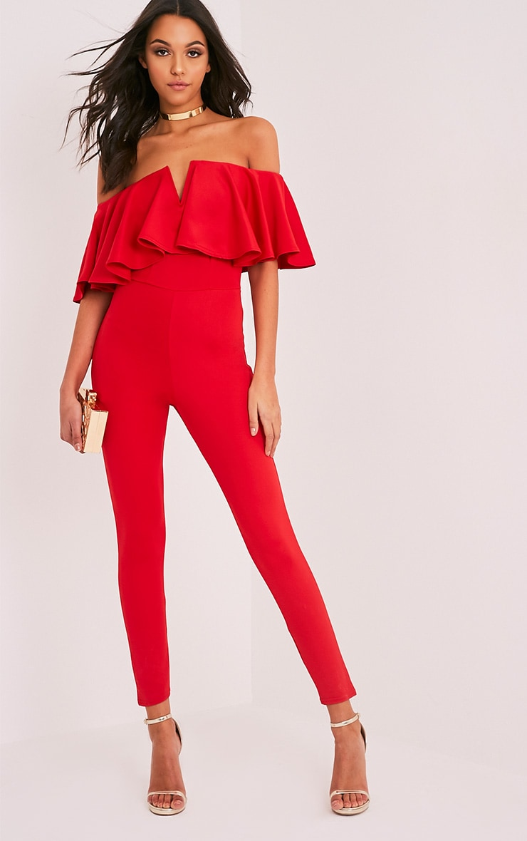 Lilliana Red Bardot Frill Scuba Jumpsuit  1