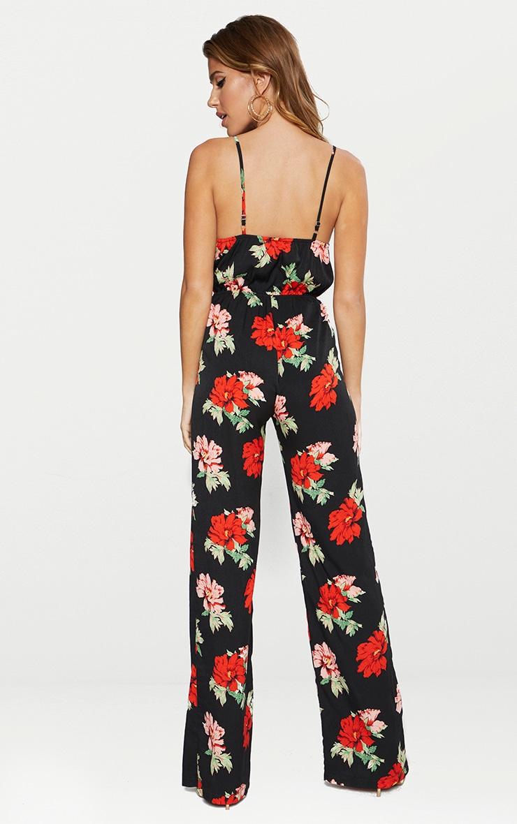 Black Floral Lace Trim Jumpsuit 2