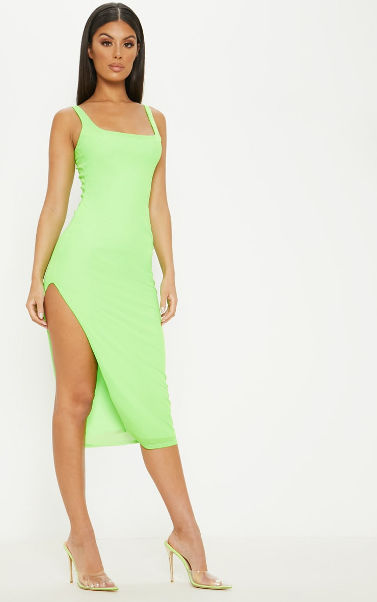 Neon Lime Mesh Split Leg Midi Dress 4