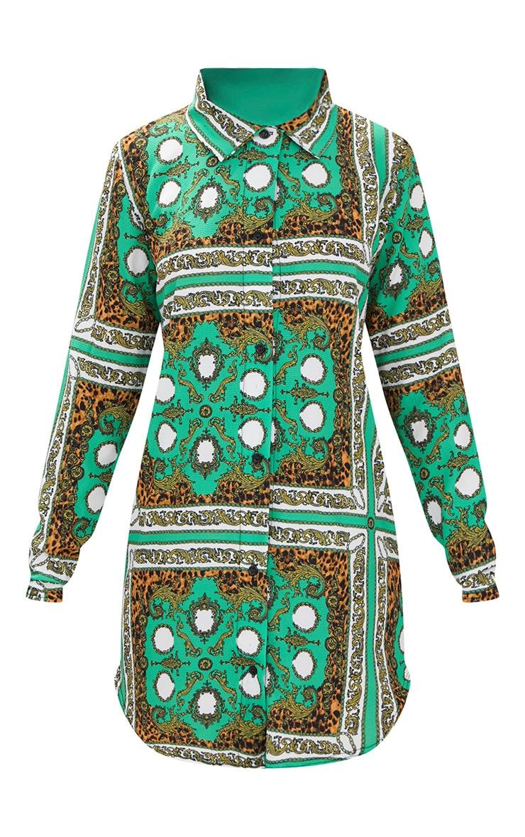 Green Scarf Print Shirt Dress 3