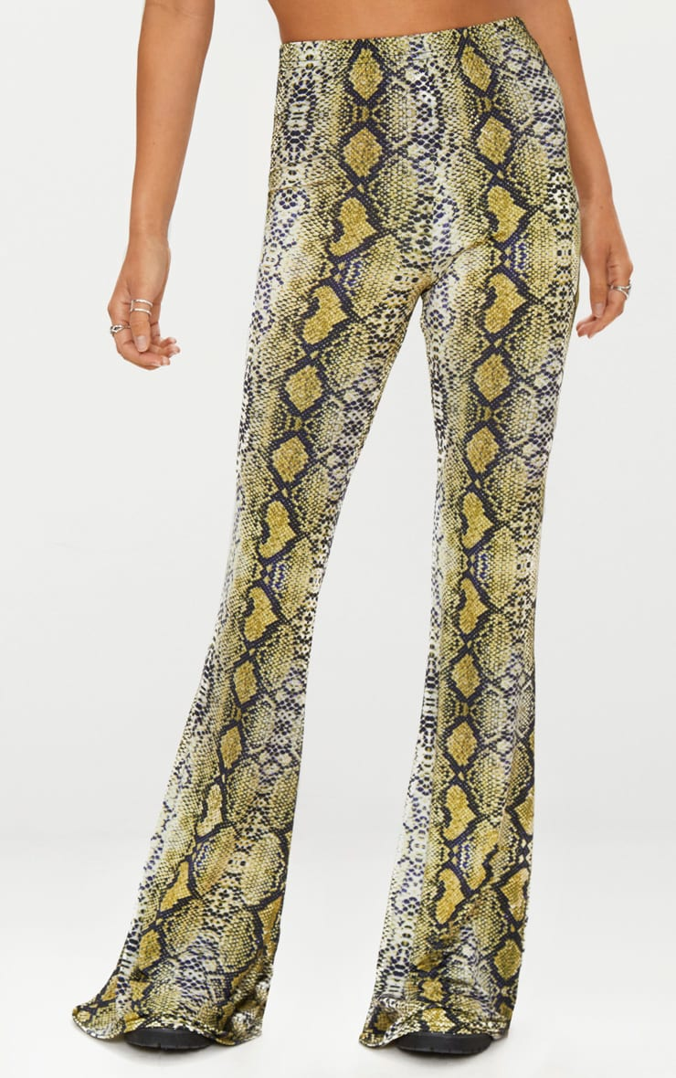 Green Snakeskin Flared Trousers 2